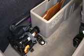 Jack stays secured in it's original place after installing the DU-HA. Jack tools can be stored behind the DU-HA as shown in this picture.