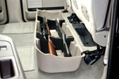 This model will hold 2 guns, 1 with a scope and 1 without a scope, in the upright position and acts as a legal gun case in most states with the seats in the down postion.