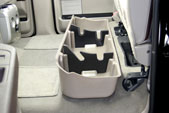It includes removable organizer/gun rack inserts which are made of soft material so they won't damage guns.