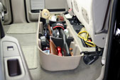 Have it look like this instead! The DU-HA is perfect for storing your hunting gear securely underneath your back seat.