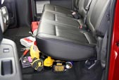 Take the tools and supplies that are rolling around your back seat...