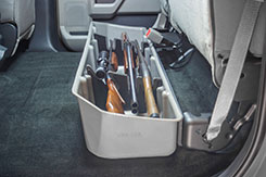 DU-HA Part #20111. The organizer/gun rack set is made of soft material so it won't damage your gear or guns. The DU-HA acts as a legal gun case in most states and this particular model will securely hold up to 3 shotguns or rifles, 1 with scope using the included gun rack.