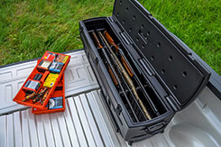The DU-HA TOTE provides a safe and secure way to transport your firearms and will hold up to four (4) shotguns or rifles, with or without scopes, in an upright position, as well as ammo, and calls. DU-HA TOTE - Part # 70103 and Part # 70104.