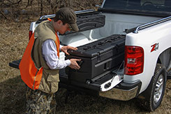 Easily reach the gear stored in your TOTE without climbing into your truck bed. The TOTE Slide Bracket allows you to slide your belongings out to you. DU-HA TOTE Part #'s 70103 and 70104.
