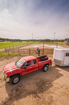 Even with a horse trailer attached to the hitch, you can still easily access the DU-HA Tote and the gear you have stored in it. DU-HA Part # 70103 and 70104.