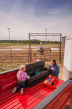 Equestrians, cowboys, cowgirls, and horse lovers use the DU-HA TOTE for hauling their horse cleaning gear, tack, and supplies to rodeos, events, and shows. DU-HA  Part # 70103 and 70104.