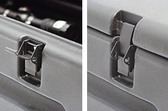 Close up of the latch open and securely closed. DU-HA TOTE - Part # 70103.