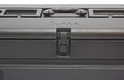 The TOTE has 3 lockable latches, all of which can be locked using any standard size padlock. DU-HA TOTE - Part # 70103.