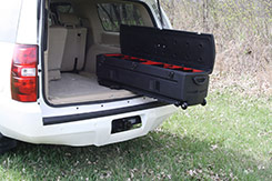 With the TOTE Slide Bracket installed, the TOTE slides easily in and out of vehicles. This allows you to access the items stored in the TOTE while standing outside your vehicle. DU-HA TOTE - Part # 70103 and Part # 70104.