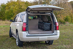 The DU-HA TOTE fits in the back of most SUV's. DU-HA TOTE - Part # 70103 and Part # 70104.