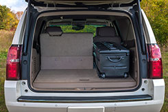 A Chevrolet Suburban will easily hold one (1) DU-HA TOTE in the rear cargo area with one (1) of the back seats folded down. DU-HA Tote - Part # 70103 and Part # 70104.