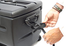 The included pull strap can be attached to the handle on either end of the TOTE. This allows you to pull the TOTE behind you on all four wheels. DU-HA TOTE - Part # 70103.