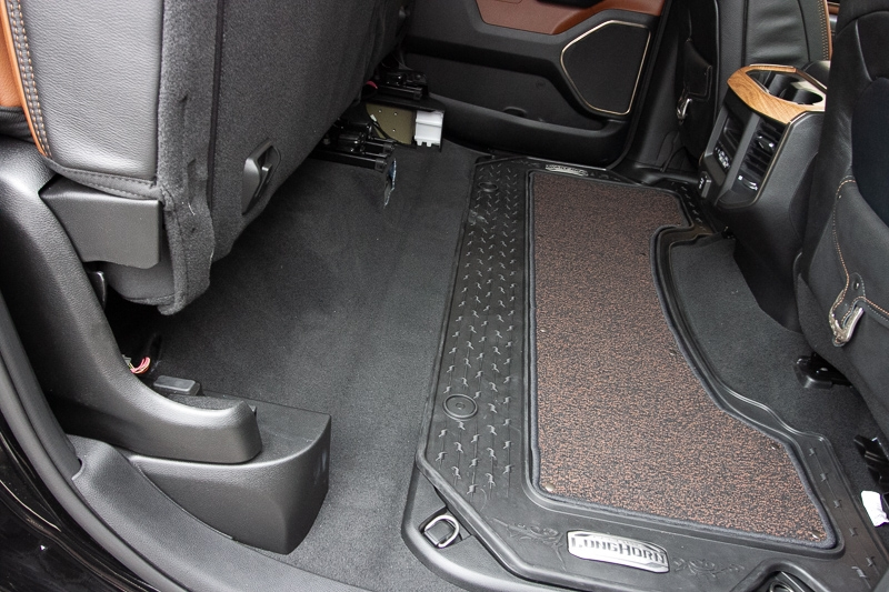 Truck shown with seats up