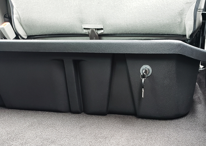 ...and have it look like this! Keep your hunting supplies and gear hidden safely out of sight under your back seat.