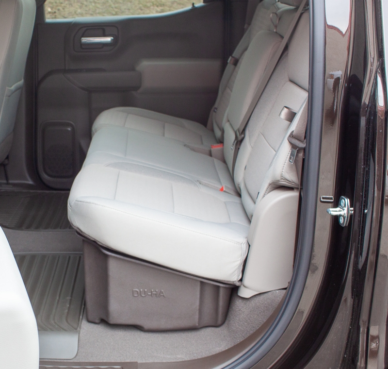 The DU-HA creates a much needed storage area inside the cab of your pickup truck. Now you have a place in your truck where you can store your belongings safely out of sight.